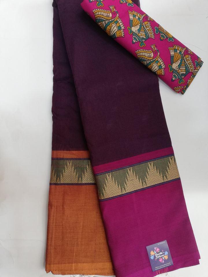 c281e411d2 Dark Purple Chettinad Cotton Saree with Kalamkari Printed Blouse ...